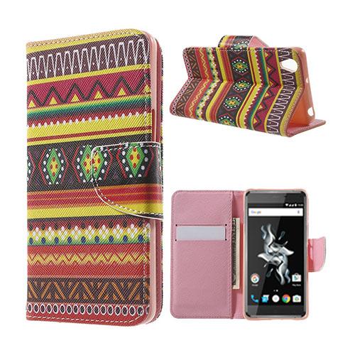 Moberg OnePlus X TPU Läderfodral med Stativ – Aztec Tribal Mönster