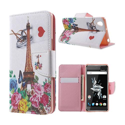 Moberg OnePlus X TPU Läderfodral med Stativ – Blommor & Eiffeltornet