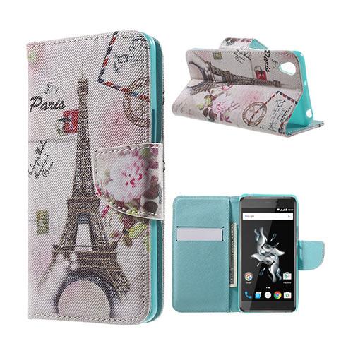 Moberg OnePlus X TPU Läderfodral med Stativ – Postcard Style Eiffel Tower