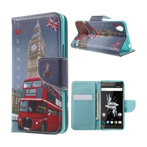 Moberg OnePlus X TPU Läderfodral med Stativ – London Elements Big Ben Flag Bus
