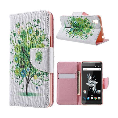 Moberg OnePlus X TPU Läderfodral med Stativ – Green Flowers Tree and Bird