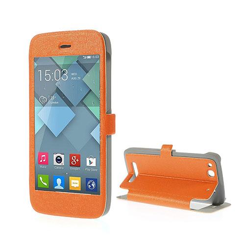 Full Fönster Läderfodral med Stativ för Alcatel One Touch Alpha – Orange