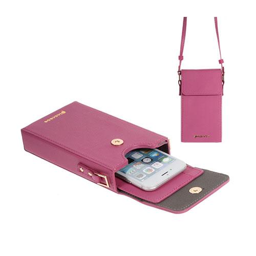 Vertikal Flip-Väska till Smartphones – Mörkrosa