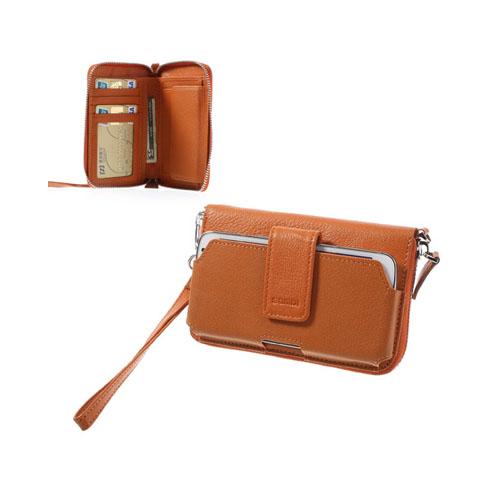Multi-Slot (Orange) Genuint Läderfodral for Smartphones (13.5 x 7 cm)