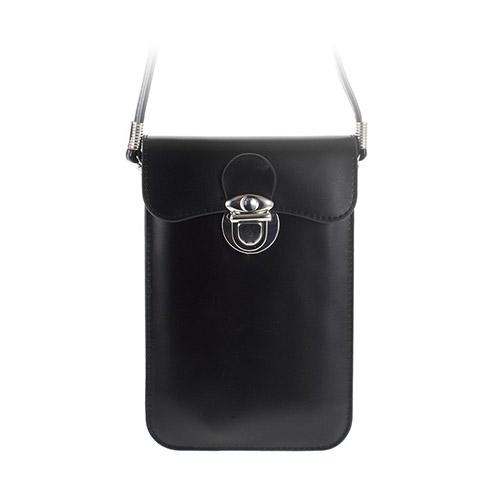 Universal Läder Påse (Svart) med Rem till Smartphones 15.6 X 10.7cm