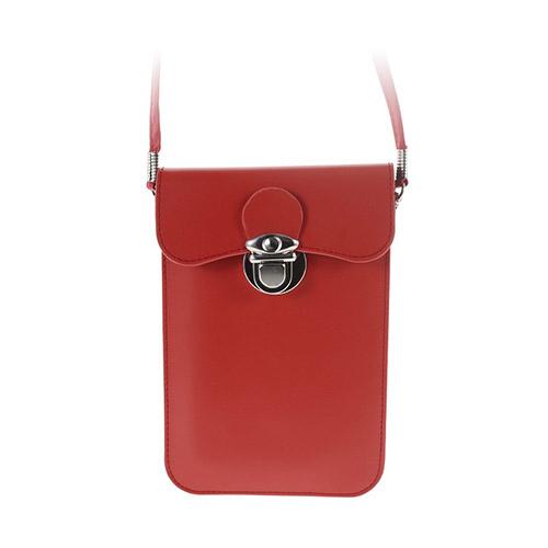 Universal Läder Påse (Röd) med Rem till Smartphones 15.6 X 10.7cm
