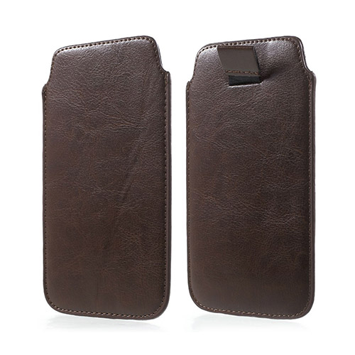 Universal Läder Pull-up Påse till Smartphone 14.5 X 8cm – Kaffe
