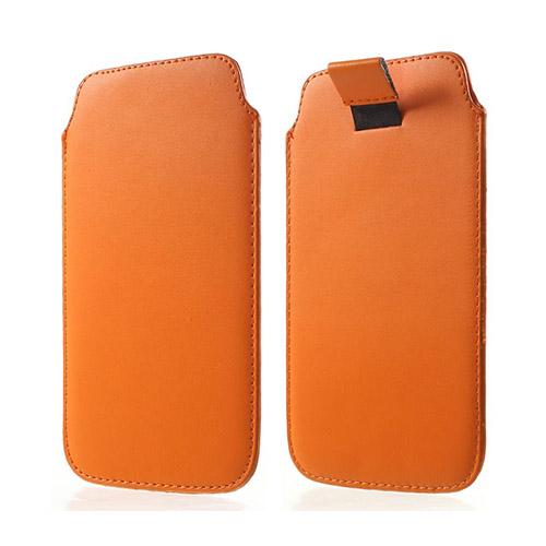Universal Läder Pull-up Påse till Smartphone 14.5 X 8cm – Orange