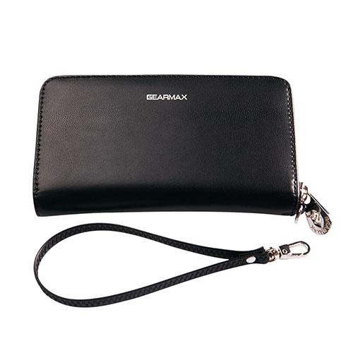 Gearmax Äkta Läderfodral med Plånbok för Smartphones – Svart