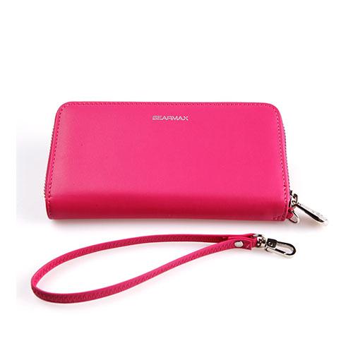 Gearmax Äkta Läderfodral med Plånbok för Smartphones – Röd
