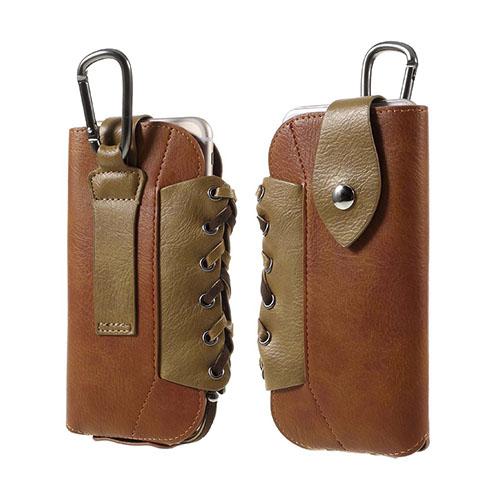 Utomhus Läderfodral + Karbinhake för iPhone 6s Plus / 6 Plus Storlek: 160 x 80mm – Brun