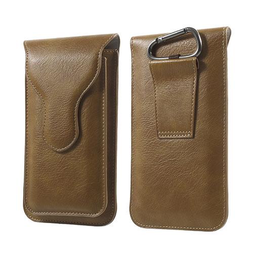 Dubbellager Läderfodral med Karbinhake för iPhone 6s Plus / 6 Plus Storlek: 160 x 85mm – Khaki