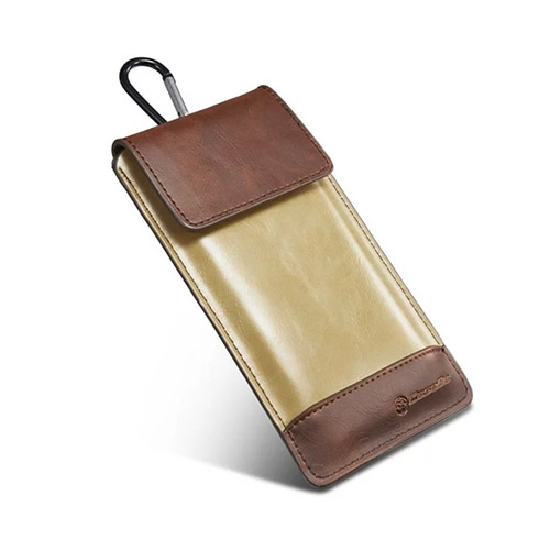 "CASEME Läderväska till 4,7-5,1"" Smartphones Storlek: 14,5 x 7,8cm – Kaffe / Beige"