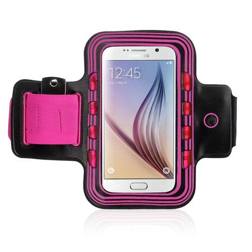 Sportarmband med Lampa till Smartphones – Storlek 14 – 7.3cm – Het Rosa