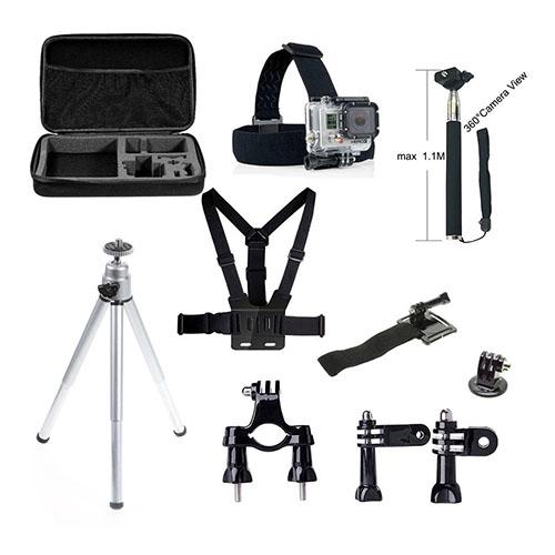 10 In 1 GoPro Tillbehör Kit med Bröstbälte Huvudrem Tripod-stativ och Mer