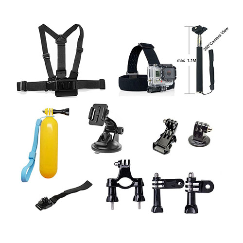 11 i 1 Utomhus Accessoarer Kit med Bröstbälte Huvudrem Handledsrem etc. för GoPro Hero 4/3+/3/2/1/SJ4000/SJ5000/SJ6000/Xiaomi Yi