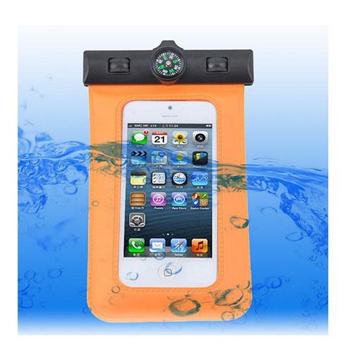 Vattentätt Smartphone-Armband med Kompass (Orange)