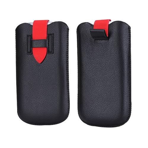 SmartPouch (Svart/Röd) Läderficka