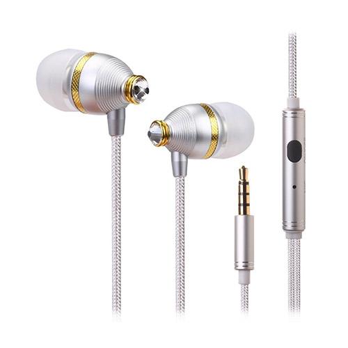 Benwis In-ear Diamant Hörlurar med Mikrofon till Smartphones och Tablets – Silver