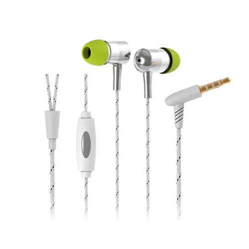 Langston i-1 (Vit / Silver) Vävt Mönster Hörlurar med Mikrofon