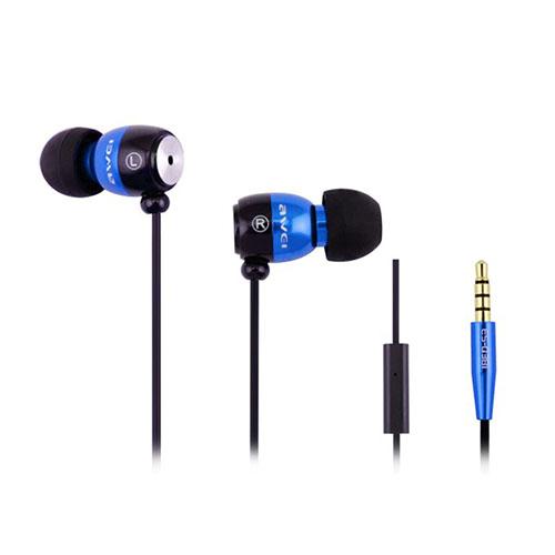 Awei-Q38i Metal In-ear Hörlurar med Mikrofon – Blå