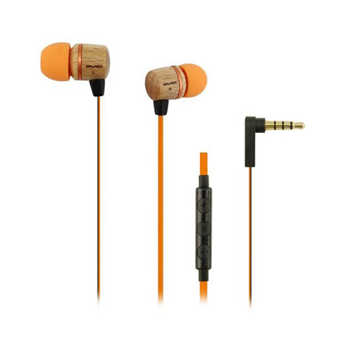 Awei Es-16H1 In-Ear Hörlurar med Trädesign Platt Kabel & Mikrofon – Orange