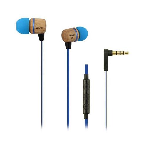 Awei Es-16H1 In-Ear Hörlurar med Trädesign Platt Kabel & Mikrofon – Blå