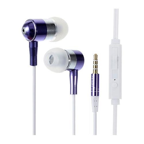 PINZUN In-ear Hörlurar med Mikrofon Volym Kontroll för iPhone Samsung – Lila