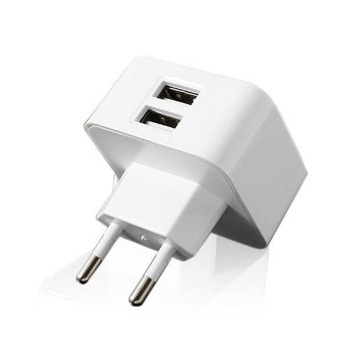 Dubbel USB-Laddare för EU-kontakt (Vit)