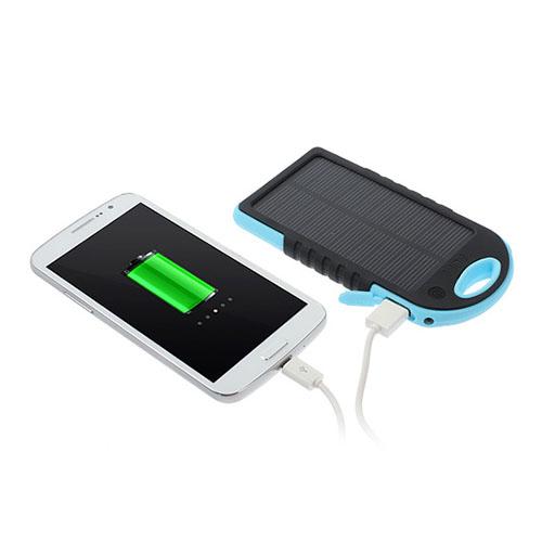Vattentät Solar Power Bank (Blå) 5000mAh till Smartphones