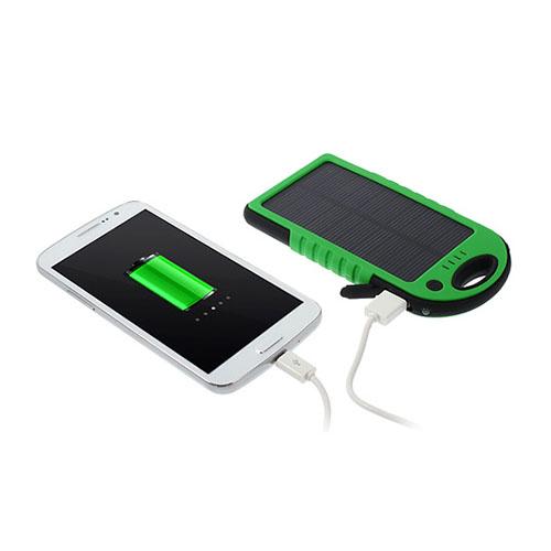 Vattentät Solar Power Bank (Grön) 5000mAh till Smartphones