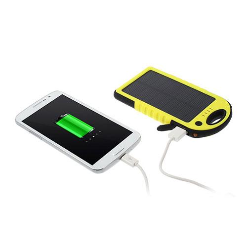 Vattentät Solar Power Bank (Gul) 5000mAh till Smartphones