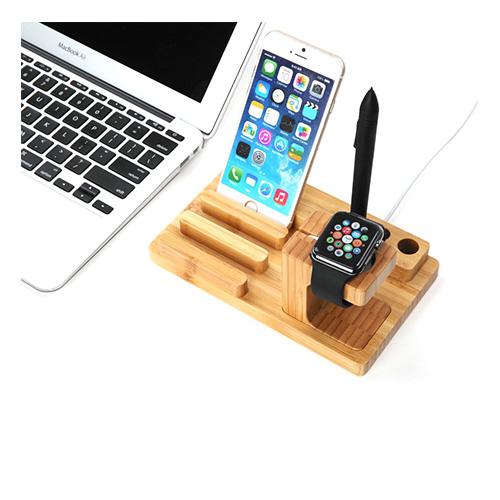 Trä-Stativ till Smartphones Klockor & Tablets – Brun