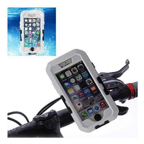 Cykelhållare med Stötsäker & Vattentät Skal till iPhone 6 – Vit