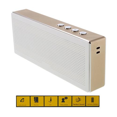 YM-370 Rektangel Trådlös Bluetooth Högtalare med Mikrofon Stödjer TF-kort/AUX-ingång – Champagne
