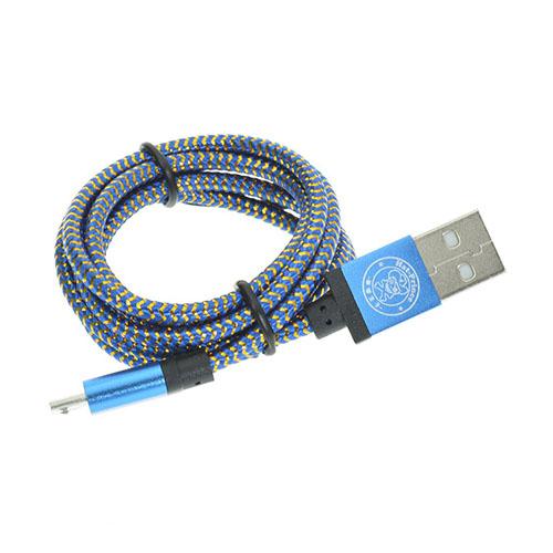 1m Vävd Micro USB-Kabel – Blå
