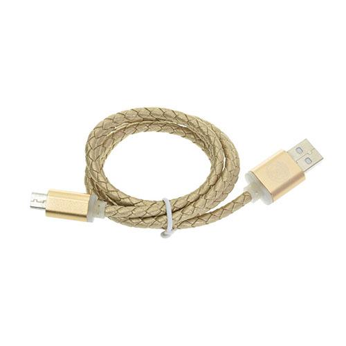 1m Läder Micro USB-kabel – Guld