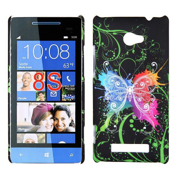 Valentine (Färgglad Fjäril – Svart) HTC Windows SmartPhone 8S Skal