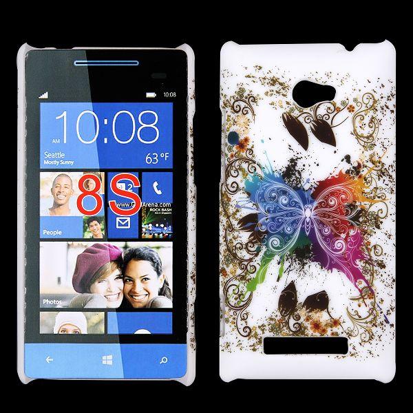 Valentine (Färgglad Fjäril – Vit) HTC Windows SmartPhone 8S Skal