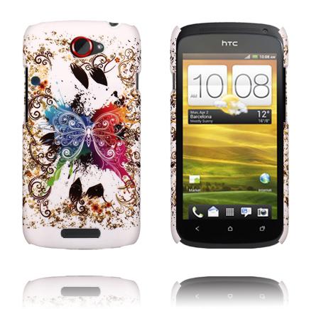Valentine (Centrerad Regnbågsfjäril – Vit) HTC One S Skal