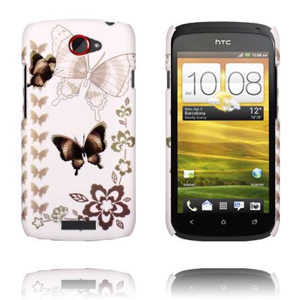 Valentine (Vit Sky – Svart Fjäril) HTC One S Skal