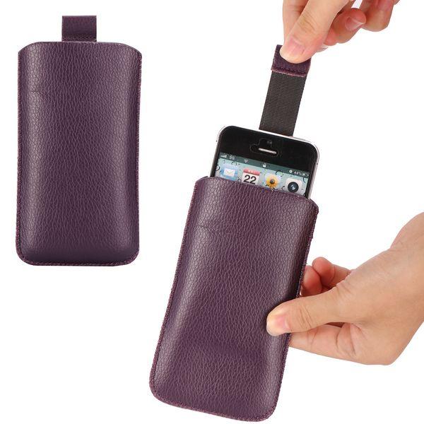 ColorCase Pull Tab Läderpåse för iPhone 5 (Lila)