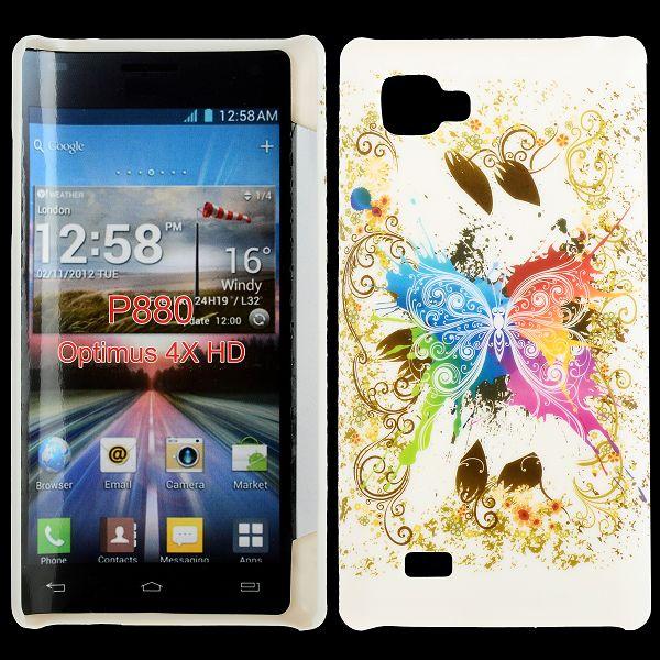 Valentine (Centrerad Regnbågsfjäril – Vit) LG Optimus 4X HD Skal