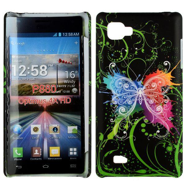 Valentine (Centrerad Regnbågsfjäril – Svart) LG Optimus 4X HD Skal