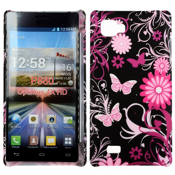 Valentine (Rosa Fjärilar) LG Optimus 4X HD Skal