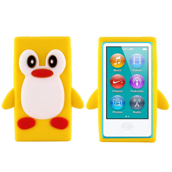 Happy Penguin (Gul) iPod Nano 7 Silikonskal
