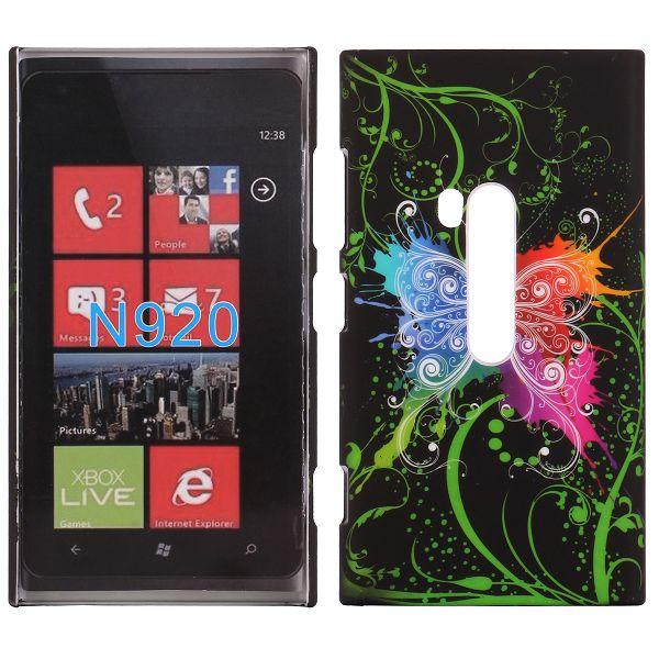 Valentine (Färgstark Fjäril – Svart) Nokia Lumia 920 Skal
