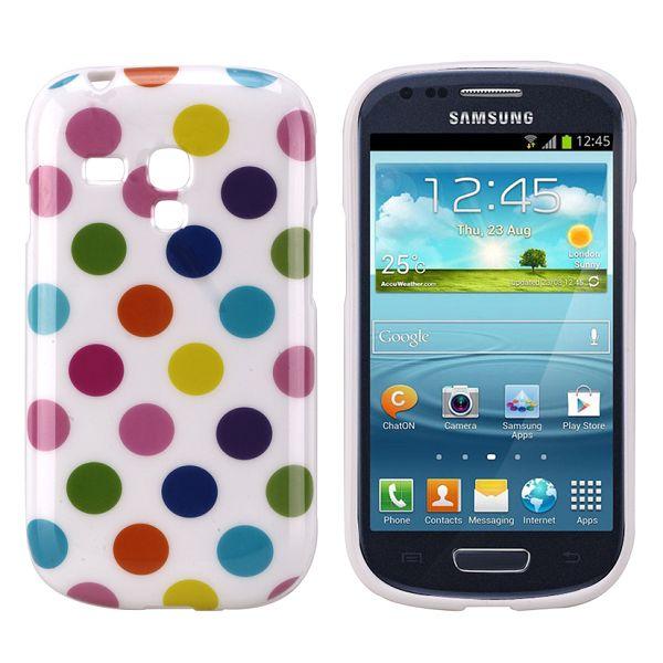 Dots (Vit Colorfull) Samsung Galaxy S3 Mini Silikonskal