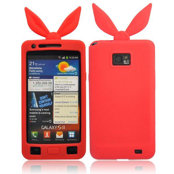 Funny Bunny (Röd) Samsung Galaxy S2 Silikonskal