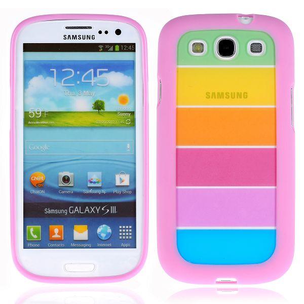 Rainbow Transparent (Rosa) Samsung Galaxy S3 Silikonskal
